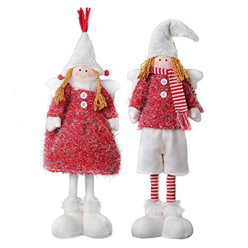Valery Madelyn 2Pcs Adornos De Navidad Figuras Ángel, Decoraciones Muñeca de Navidad Ángel de Blanco Rojo, Figurillas de Fieltro Navideño