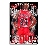 Michael Jordan 23 Chicago Bulls Poster Bedroom Mural Wall Painting Canvas Art Poster and Wall Art Picture Print Modern Family Bedroom Decor Posters 12×18inch(30×45cm)