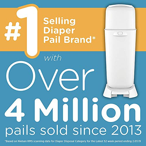 Playtex Diaper Genie Complete Diaper Pail, Fully Assembled, with Odor Lock Technology, Includes 1 Pail & 1 Refill, White