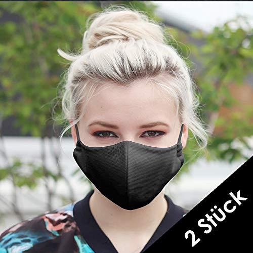 NIMBIM Behelfsmaske, Maske mit antibakterielle Silberfasern, waschbare Damen & Herrenmaske, atmungsaktiv, Maske in schwarz