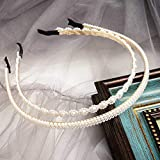 Dmaiy 2 Pieces Pearls Headbands White Pearl Hairband Fashion Head Band Bridal Hair Hoop Bridal Faux Pearl Beads Wedding Elegant Hair Accessories for Women and Girls (Vintage)