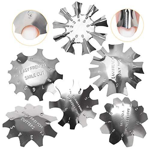 Ziyero 6 Stk/Set French Smile Line Maniküre Kantenschneider Manicure Edge Trimmer Set French Nail Guide Werkzeuge Edelstahl 6 Formen Multi Größen, für DIY, Salon, Schönheitssalon, Nagelanfänger—Silber