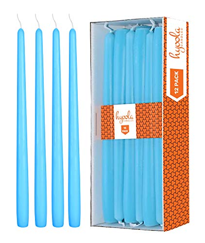 Hyoola 12 Pack Tall Taper Candles - 10 Inch Light Blue - Turquoise Dripless, Unscented Dinner Candle - Paraffin Wax with Cotton Wicks - 8 Hour Burn Time.