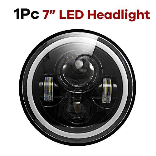 De-fender 110 W 17,8 cm argento LED faro bianco giallo indicatore di direzione proiettore DRL Halo Ring Occhi ricambio RHD Headlamp 2pcs//kit Faro a LED rotondo da 17,8 cm