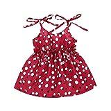 jieGorge Mädchen Kleider, Sommer Kleinkind Baby Mädchen Ärmellose Rüschen Dot Print Hosenträger Prinzessin Kleid, Baby Kleidung Sales Red 3-4 T.