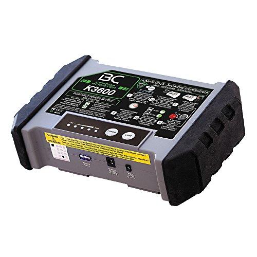 BC Booster K3600 Starthulpbooster voor auto en motorfiets, 12 V, 1200 A, draagbare USB-powerbank, 20000 mAh voor smartphones en tablets + LED-zaklamp