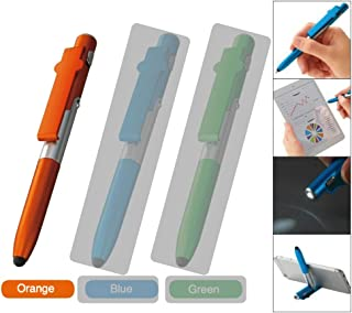 4 in 1 Multi Function Phone Stand Ballpoint Pen (Orange) with Stylus for Touch Screen Devices, Tablet, iPad, iPhone and Build-in LED Light Function