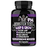 Angry Supplements Monster Test PM Testosterone Booster Plus Sleep Aid-Jack T-Levels All Natural, Made in USA, Powerful and Potent Ingredient, Boost Energy and Performance in Gym and Bedroom (1-Bottle)
