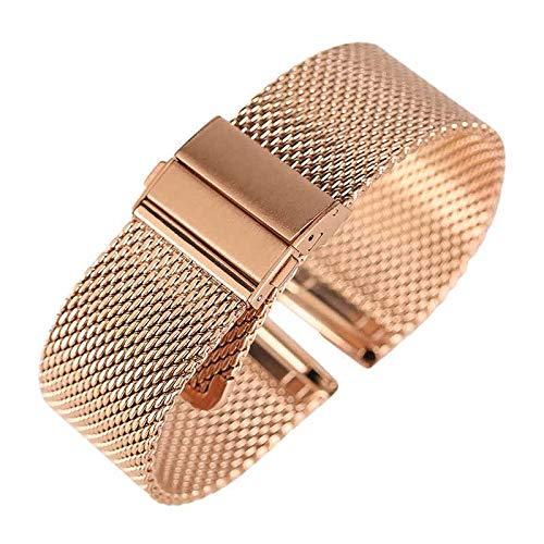 Love+djl Uhrenarmband, Schwarz/Silber/Rose Goldene 18mm / 20mm / 22mm Uhrenarmband-Mesh-Edelstahl-Bügel Umklappen Spange Uhren Ersatz-Armband (Color : Rose Gold, Size : 20mm)