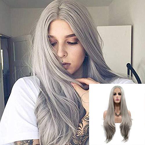 Perruque blonde platine argentée 61 cm sans colle synthétique avec dentelle frontale, longue raie au milieu, gris cendré, cheveux raides synthétiques résistants à la chaleur pour femme