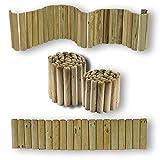 Bordure per aiuole ROLLBORDER srotolabile Ø 5 CM 250 X 20 H in legno di pino IMPREGNATO per fioriere giardini aiuola fiori CARTOMATICA Confezione da 1PZ