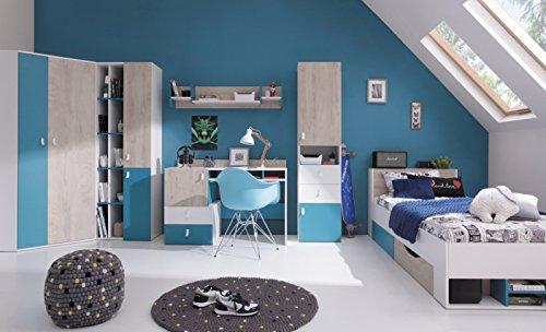 QMM Traum Moebel Jugendzimmer Kinderzimmer komplett Space Set A Eckschrank 2 Standregale Schreibtisch Wandregal Bett 200x90 NEU