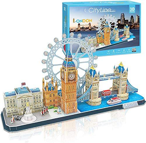 3D Puzzle Cityline London Architektur Gebäude Modell Kits, Buckingham Palace, Big Ben, London Eye, Turmbrücke 3D Puzzles Für Erwachsene Und Kinder, 107 Stück