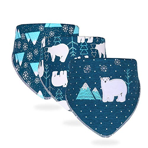 HongYong Baby Bandana Drool Bibs with 2 Adjustable Snaps,100% Organic Cotton Baby Feeding Bibs,Super Soft & Absorbent Baby Drooling Bibs for Boys Girls (3 Packs)