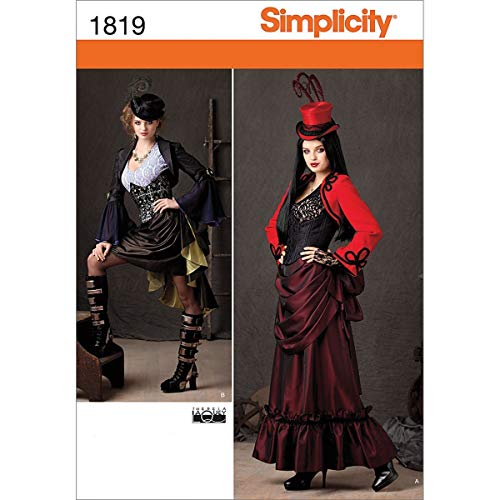 Simplicity 1819 Misses Steampunk Costume Sewing Pattern, Size R5 (14-16-18-20-22)