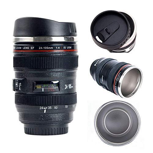 ZBHGF Camera Lens Koffie Mok Cup met Deksel, Foto Koffie Mokken Roestvrij Staal Reizen Lens Mok Thermos Fotograaf Filmmaker Cup, Novelty Geschenken Ideaal voor alle leeftijden