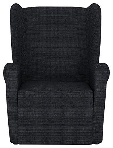 Eiffel Textile Lille Funda sofá sillón orejero, Algodón, Negro, 55 x 195 x 2 cm