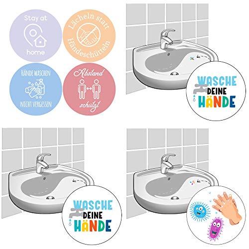 LK Trend & Style Hygien-set med 4-pack väggklistermärke och kakeldekal 10 cm + 3 små klistermärken för speglar och tvättställ för inredning