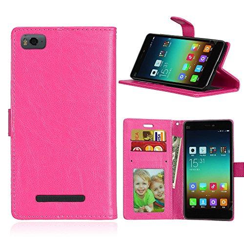 Funda Xiaomi Mi 4i 4c Mi4i Mi4c M4i M4c,Bookstyle 3 Card Slot PU Cuero Cartera para TPU Silicone Case Cover-Rosa Rojo