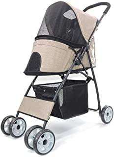 Pet stroller Four-Wheeled Pet Stroller, Pet Stroller,Collapsible Pet Stroller, Small Pet Stroller,Pet Supplies, Lightweight and Portable Pet Stroller, for Small and Medium Pets (Color : Khaki)