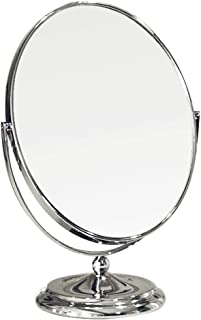 AINIYF Double Sided Makeup Mirror Tabletop Magnification Cosmetic Mirror Stand with 360°Rotation(Silver)