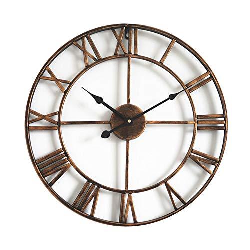 Taodyans Silent Wall Clock Vintage Roman Numerals 40cm Non Ticking Metal Skeleton Decorative Clock Living Room Kitchen Cafe Hotel Office Home Decor Gift (Bronze)