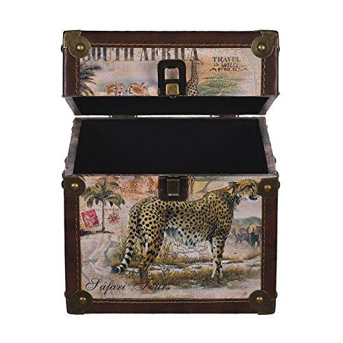 Truhe Kiste KD 385 , Holztruhe mit Canvas bezogen im Vintage Look, Schatzkiste,Kiste, Piratenkiste, Kleinmöbel, Mit Metallbeschlägen, Antikoptik, Holz, verschieden Größen, Maritim, Deko, Hochwertig, Kolonialtruhe, Kolonialstil, Holzbox, Truhe mit Ornamenten . (Größe L 20 x 20 x 20 cm Leopard)