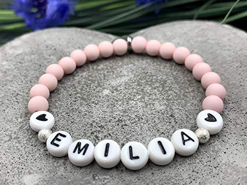 Armband Name Emilia rosa, Geschenk Liebe, Acryl oder Edelsteine