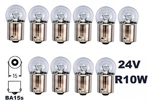 24 Volt - 10 Stück - R 10W - BA15S - 10Watt - Nfz LKW Beleuchtung - Glühlampe, Glaslampe, Glühbirne, Soffitte, Lampen. mit E-Prüfzeichen [STVZO zugelassen] - Hallenwerk