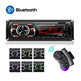 Hoidokly Autoradio Bluetooth Main Libre 1 Din Radio de Voiture Stéréo avec 2 Ports USB/TF/AUX/FM/MP3/EQ + SWC Télécommande, 7 Couleurs d'éclairage