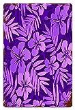 MIFSOIAVV Vendimia Cartel de Chapa metálica Violeta colores flores tropicales patrón de trama perfecta Placa Póster,Decoraciones de de Pared de Hierro Retro para Café Bar Pub Casa 20x30cm