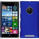 PhoneNatic Case kompatibel mit Nokia Lumia 830 - Hülle blau gummiert Hard-case + 2 Schutzfolien