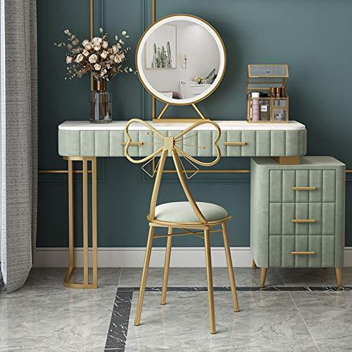 Vielseitige Samt-Waschtische mit gepolstertem Hocker, Schreibtisch, Make-up-Schminktisch mit 5 Schubladen, großer Make-up-Waschtisch mit rundem Spiegel, Schlafzimmer-Kommode, Weiß