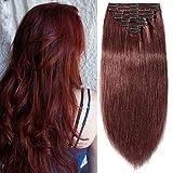 Clip in Extensions Echthaar Doppelt Tressen Haarverlängerung 8 Teilig 100% Remy Hair für Komplette kopf Rotbraun#33 20'(50cm)-150g