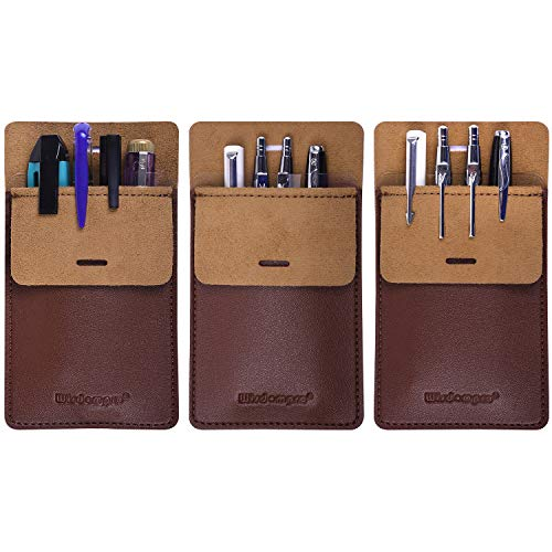 Wisdompro Pocket Protector, 3 Pack PU Leather Heavy Duty Pen Holder Pouch for Shirts, Lab Coats, Pants - Multi-Purpose - Holds Pens, Pointers, Pencils, and Notes - Brown