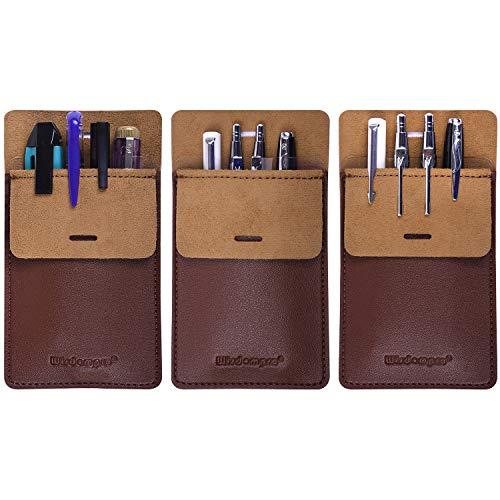 Wisdompro - Protector de bolsillo, 3 unidades, piel sintética, resistente, para camisas, abrigos de laboratorio, pantalones, multiusos, para bolígrafos, punteros, lápices y notas, color marrón