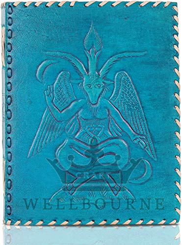 Wellbourne Handmade Pure Leather Journal Embossed Baphomet Lord of Satan Vintage Notebook Notepad Sketchbook Travel Diary for Writing & Sketching Gifting Option 9 X 7