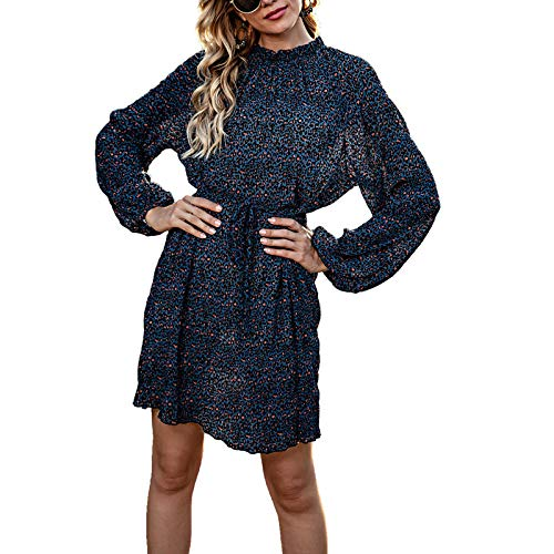 GOUWANDamen Tailliertes Kleid Langarm Minikleid Rundhals Vintage Langärmeliges Kleid Party Kleider Cocktailkleid