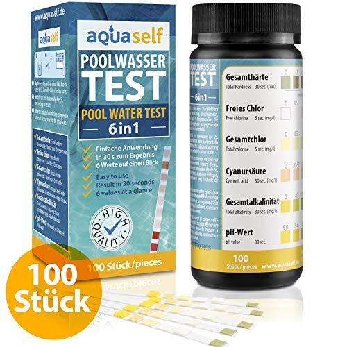 aquaself Poolwasser-Test 6-in-1 – Wassertester für Pool auf pH, freies Chlor, Gesamtchlor, GH, Cyanursäure, Gesamtalkalinität – 100 Stück Wasserteststreifen - inkl. gratis E-Book
