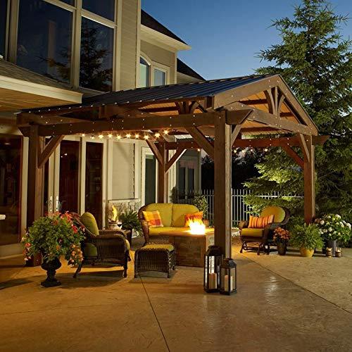 14 x 14 Douglas Fir Lodge Pergola en marrón acabado con techo de metal verde: Amazon.es: Jardín