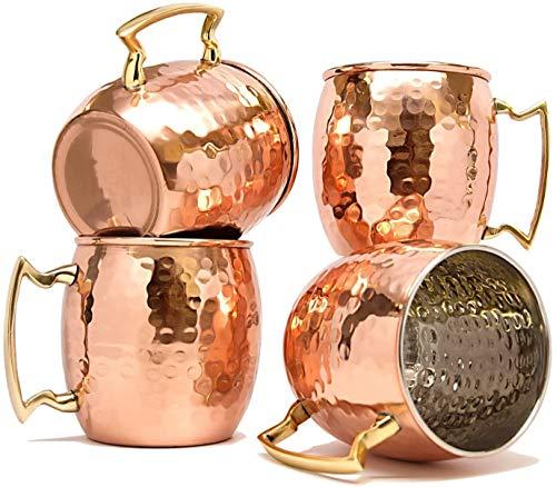 RATNA Juego de 4 tazas de cobre macizo de Moscú con acabado martillado