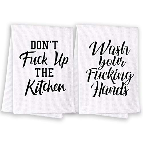 Miracu Funny Kitchen Towels, Dish Towels, Kitchen Hand Towels - Cute Bathroom Hand Towels, Decorative Waffle Dish Towels Sets of 2 - Funny Housewarming Gifts, Mothers Day, House Warming Gifts New Home