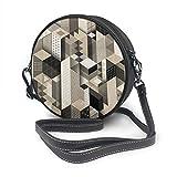 Rterss Sac à bandoulière rond en cuir véritable vintage avec bandoulière réglable pour femme Motif géométrique