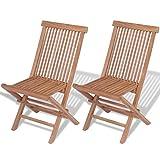 vidaXL 2x Solid Teak Folding Chairs Outdoor Garden Patio Furniture Seating