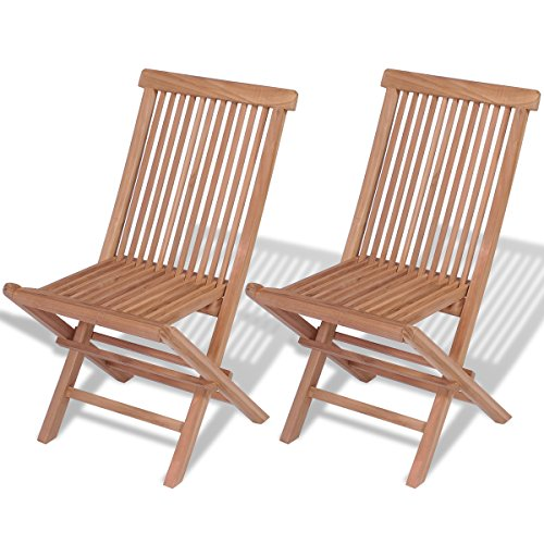 vidaXL 2x Solid Teak Folding Chairs Outdoor Garden Patio Furniture Seating