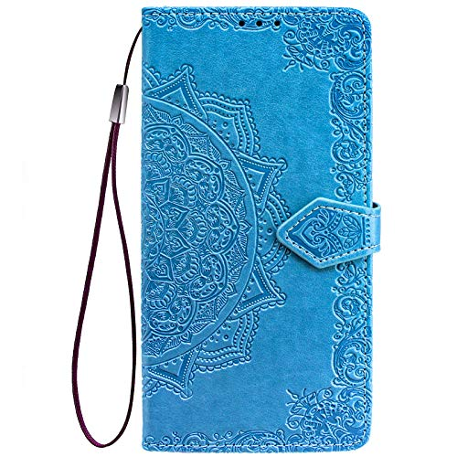 ALAMO Mandala Hülle für Samsung Galaxy A32 4G (Not for 5G Edition), Premium PU Leder Handyhülle mit Kartensteckplätze - Blau