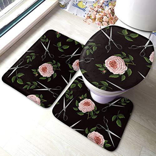 Houity 3-delige badmat set rozen en schaar vector afbeelding badkamer tapijt matten set 3 stuk anti-slip pads bad mat + contour + wc-deksel cover