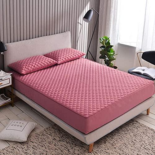 CHAJI Cubierta Premium del colchón con Cremallera, Tapa de colchón de Tela de algodón, sábana de Cama Acolchada con Todo Incluido de Seis Lados de 20 cm de 20 cm,Rojo,150x200cm