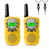 Felicigeely Walkie Talkies for Kids,Kids Walkie Talkies 2 Pack,Cover 3 Miles Range with Backlit LCD Flashlight 22 Channels 2 Way Radio Toy Outdoor Adventures, Camping, Hiking,Party (Yellow)