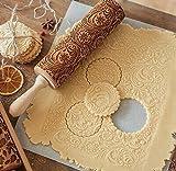 DIVISTAR Mattarello Natalizio in Legno Goffrato per cuocere Biscotti con Manico Rullo Impasto utensile da Cucina con Fiocchi di Neve incisi